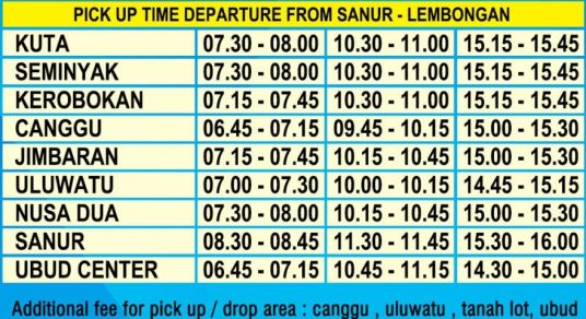 SCHEDULE FOR DAY TOUR